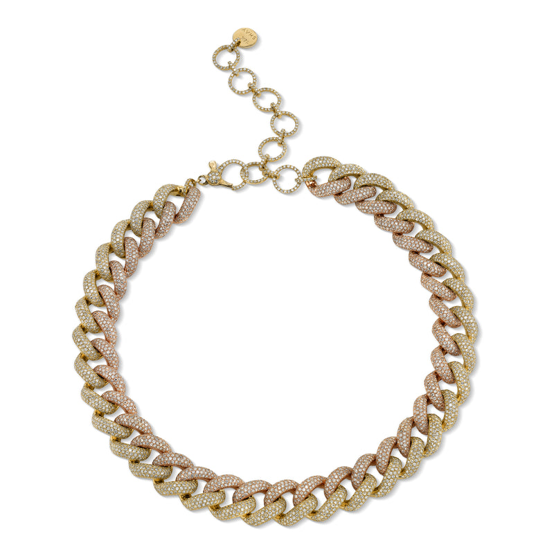 TWO-TONE JUMBO PAVE LINK NECKLACE