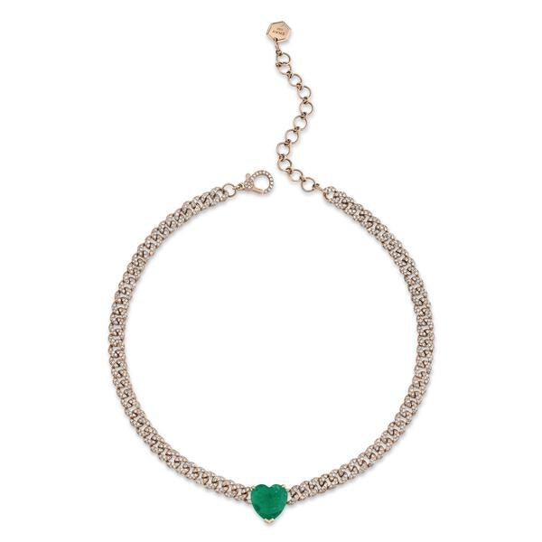 JUMBO EMERALD HEART MINI PAVE LINK NECKLACE
