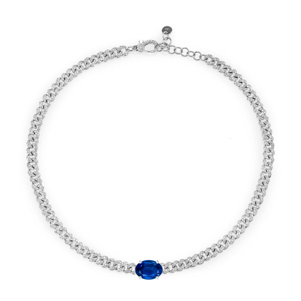 BLUE SAPPHIRE OVAL PAVE MINI LINK NECKLACE