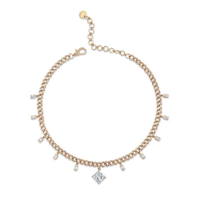 RADIANT DIAMOND BAGUETTE DROP LINK CHOKER