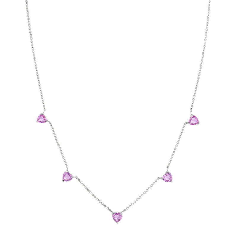 PINK SAPPHIRE 5 HEART NECKLACE