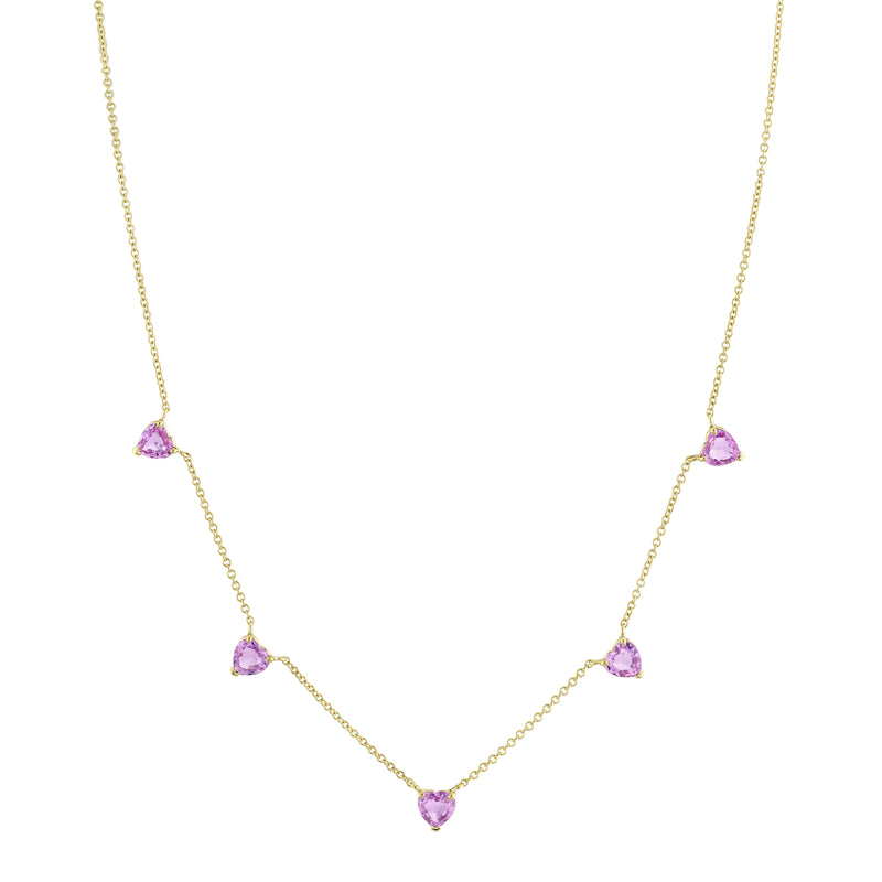 5 HEART PINK SAPPHIRE NECKLACE