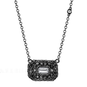 BLACK PAVE BAGUETTE DIAMOND NECKLACE