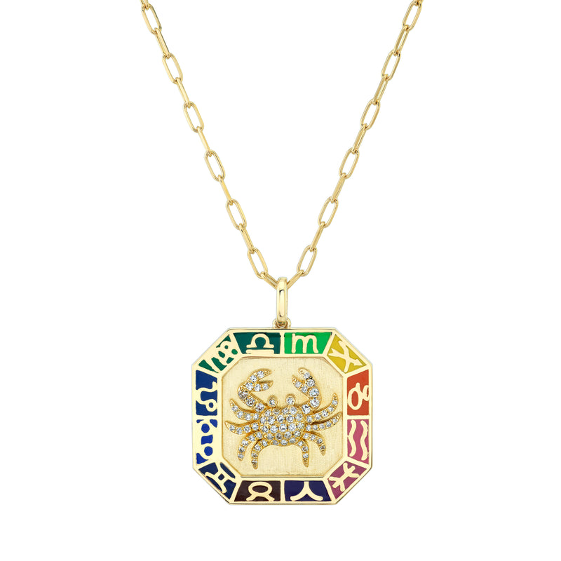 ZODIAC OCTAGON DISK NECKLACE