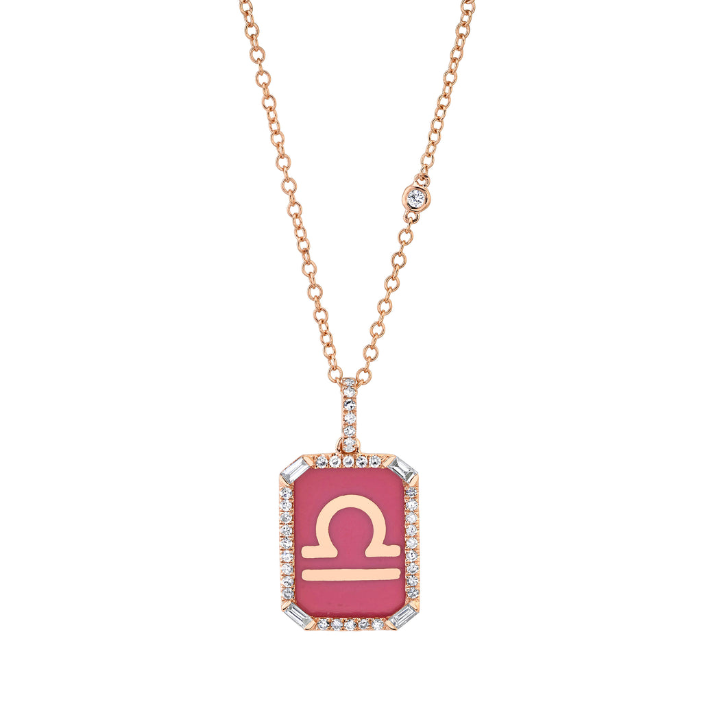 READY TO SHIP ENAMEL ZODIAC MINI NAMEPLATE NECKLACE