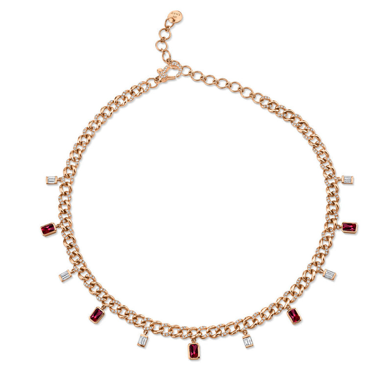 DIAMOND & RUBY BAGUETTE DROP LINK CHOKER