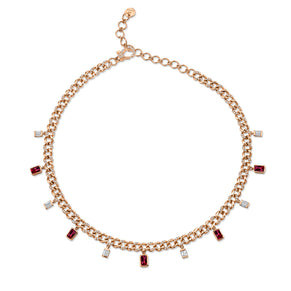DIAMOND & RUBY BAGUETTE  DROP LINK ANKLET