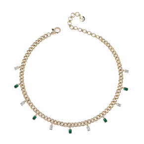 BAGUETTE DIAMOND & EMERALD DROP LINK ANKLET