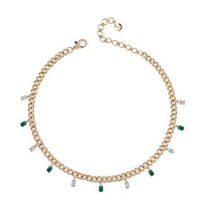 DIAMOND & EMERALD BAGUETTE DROP LINK CHOKER