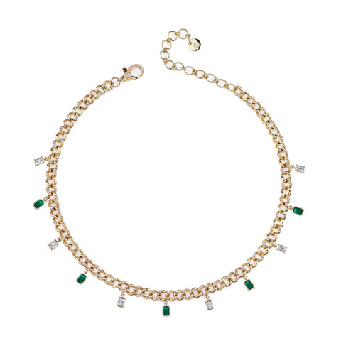 MARQUISE EMERALD DROP LINK NECKLACE