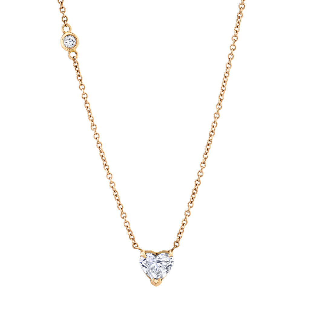 DIAMOND SOLITAIRE HEART NECKLACE, 1CTS