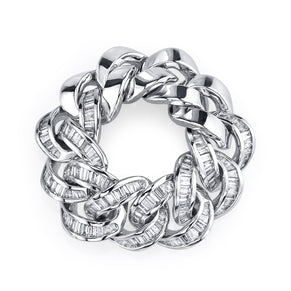 HALF BAGUETTE DIAMOND JUMBO LINK RING