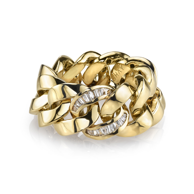 SINGLE DIAMOND BAGUETTE ESSENTIAL LINK RING