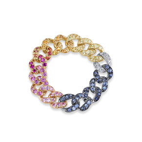 RAINBOW PAVE MINI LINK RING
