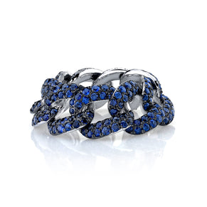 READY TO SHIP BLUE SAPPHIRE PAVE ESSENTIAL LINK RING