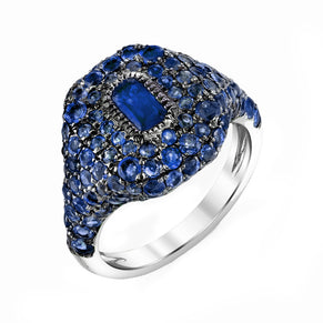 BLUE SAPPHIRE PAVE PINKY RING