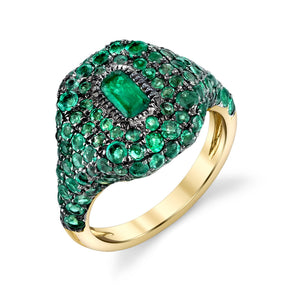 READY TO SHIP EMERALD PAVE PINKY RING