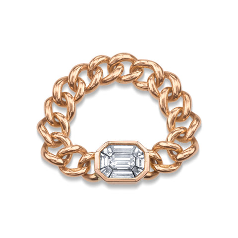 PARTIAL DIAMOND HALO LINK RING