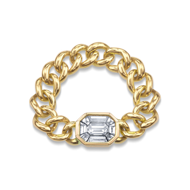 EMERALD CUT ILLUSION DIAMOND LINK RING