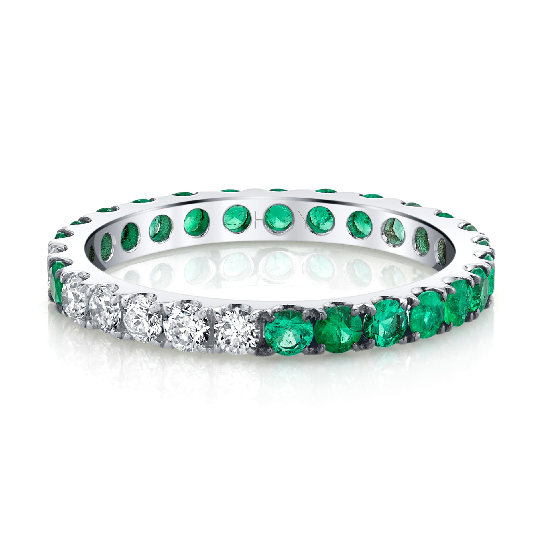READY TO SHIP EMERALD OMBRE ETERNITY BAND