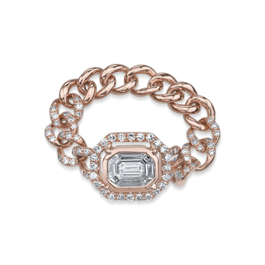 PAVE HALO EMERALD CUT ILLUSION LINK RING