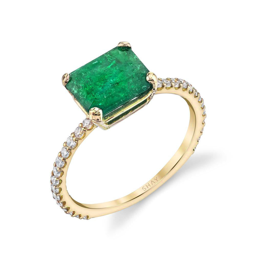 READY TO SHIP EMERALD SOLITAIRE PINKY RING