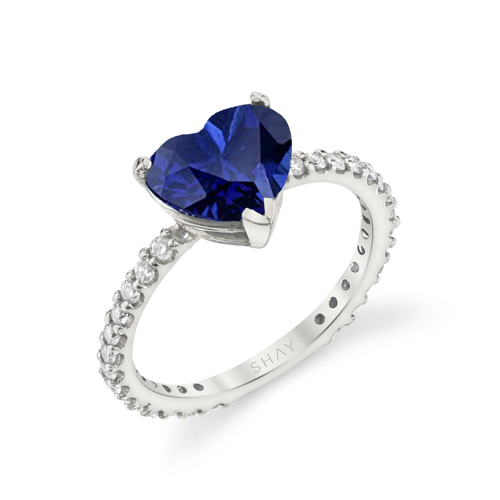 BLUE SAPPHIRE HEART PINKY RING
