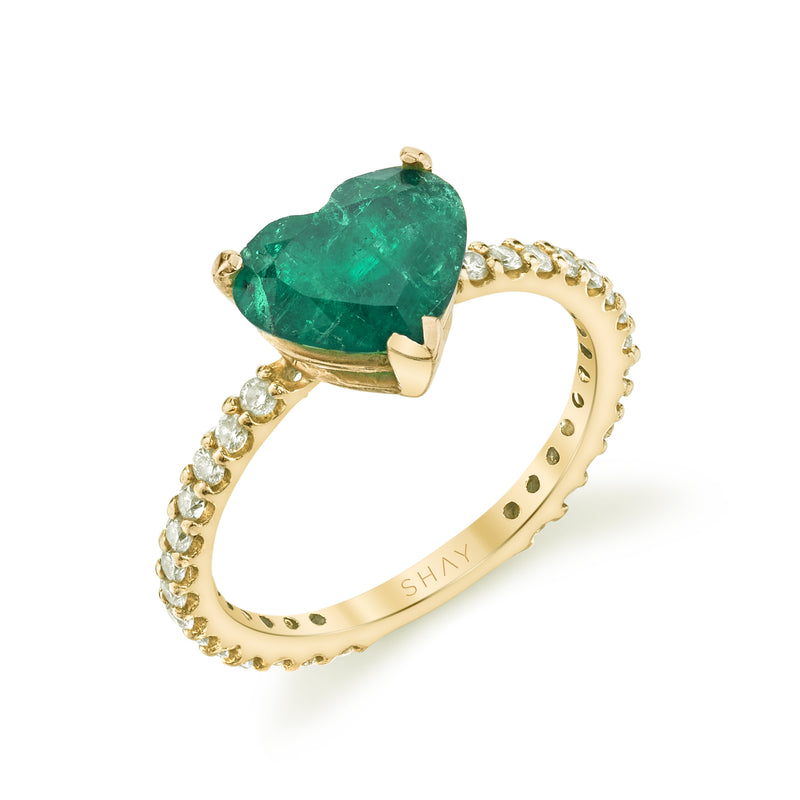 READY TO SHIP EMERALD HEART PINKY RING