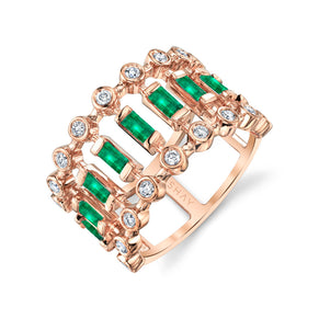 EMERALD & DIAMOND DOT DASH RING