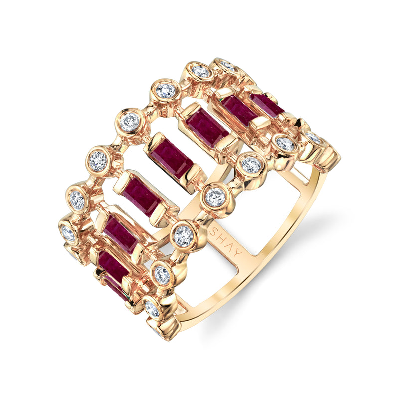 RUBY & DIAMOND DOT DASH RING