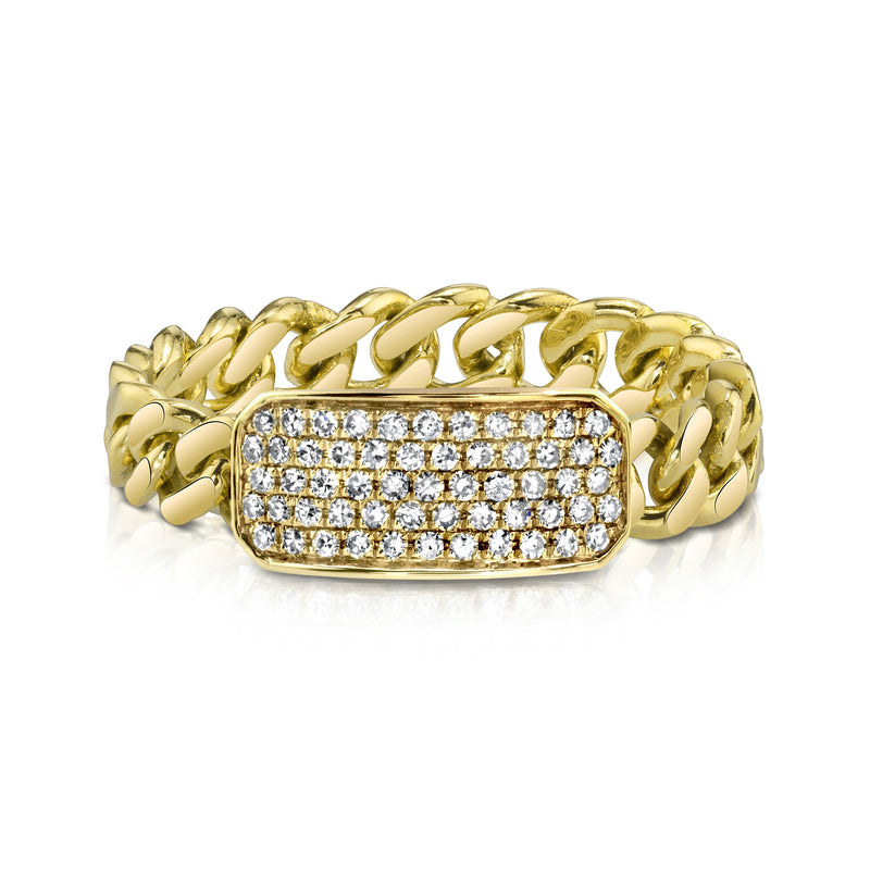 DIAMOND PAVE ID BABY LINK RING