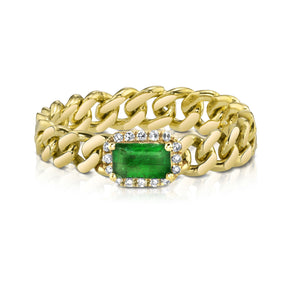 READY TO SHIP RECTANGLE EMERALD BABY LINK RING