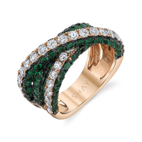 EMERALD 3 SIDED ORBIT RING