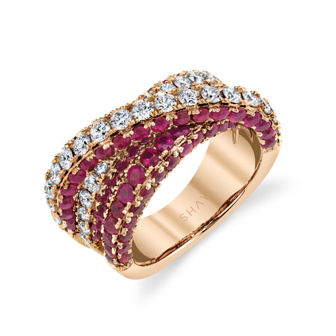 GEMSTONE & DIAMOND ORBIT RING