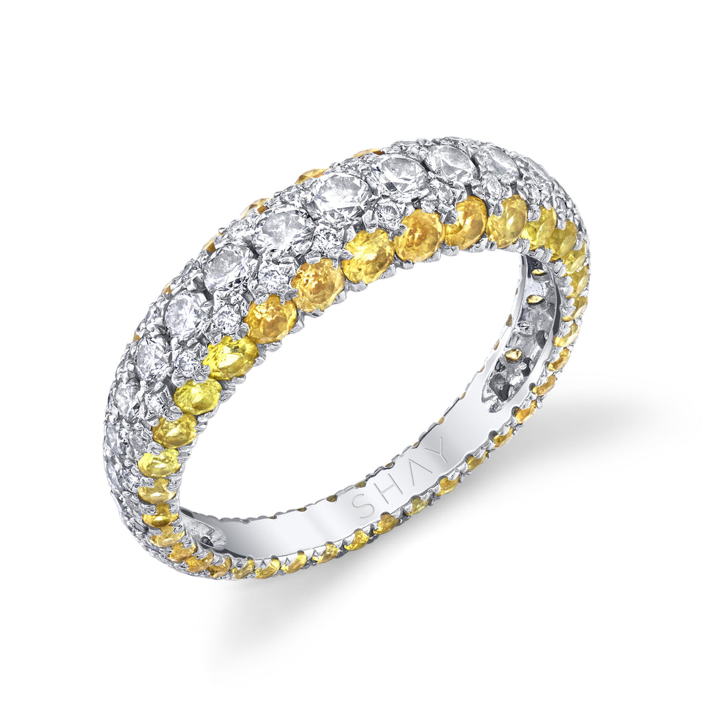 DIAMOND & YELLOW SAPPHIRE 3 SIDED DOME RING