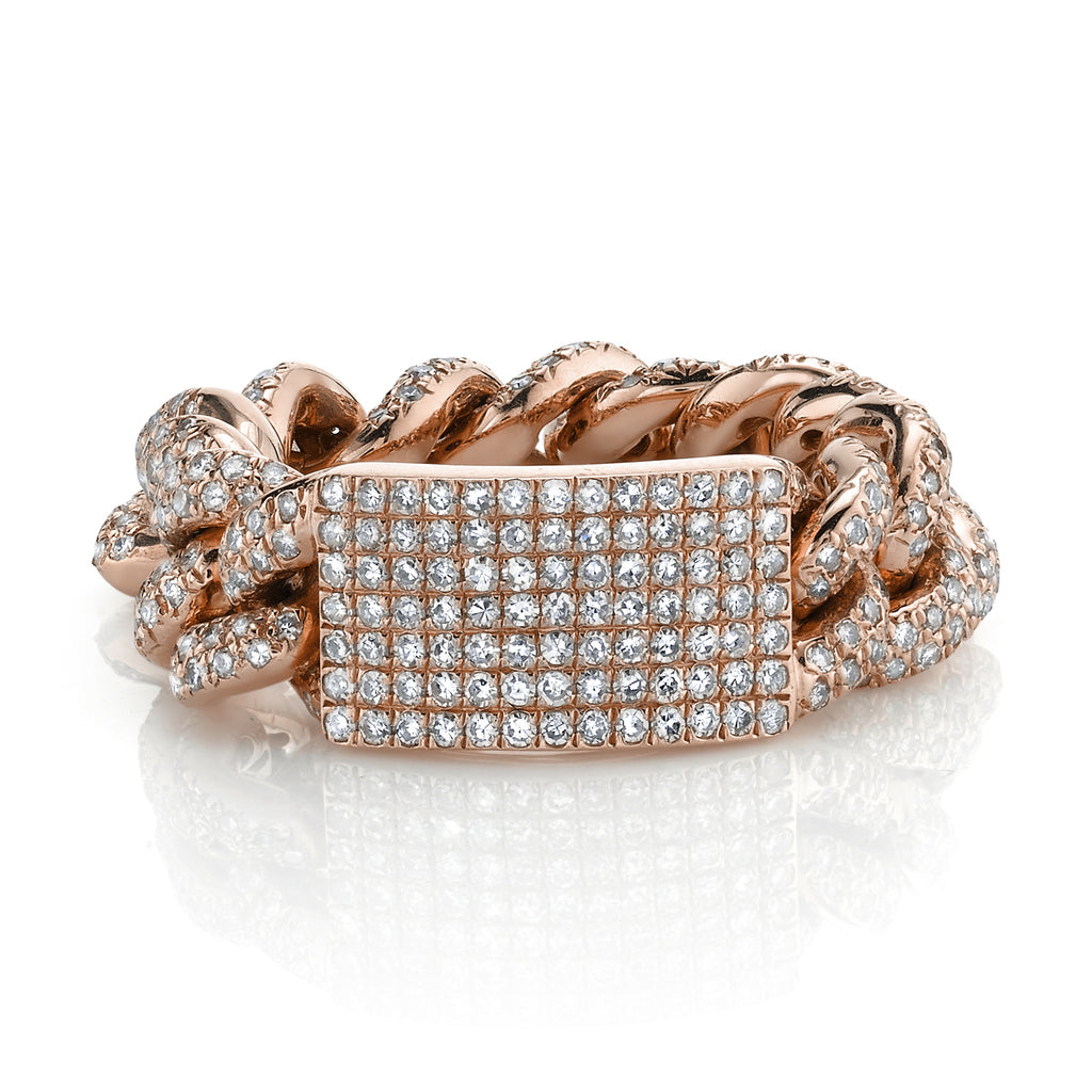 DIAMOND PAVE ID MEDIUM LINK RING