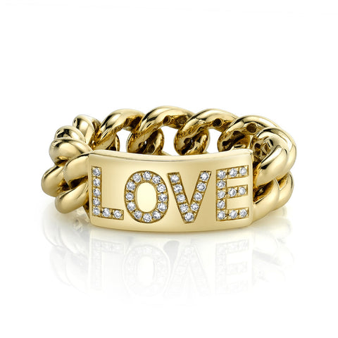 PAVE SIGNET WATCHLINK RING