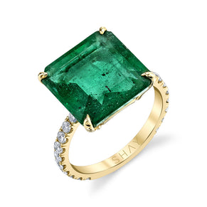 SQUARE SOLITAIRE EMERALD RING