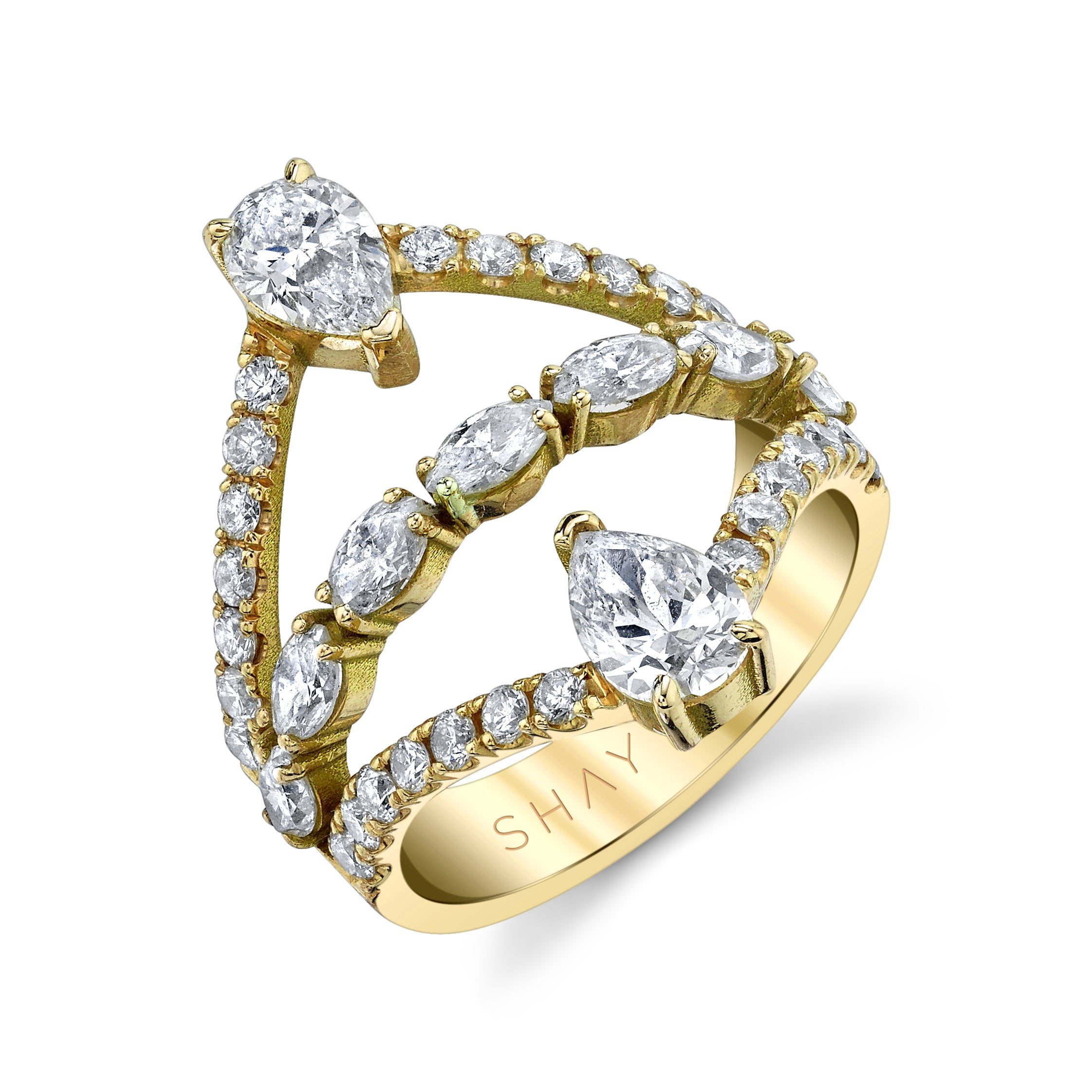 DIAMOND 3 TIER STACKED DOUBLE PEAR RING