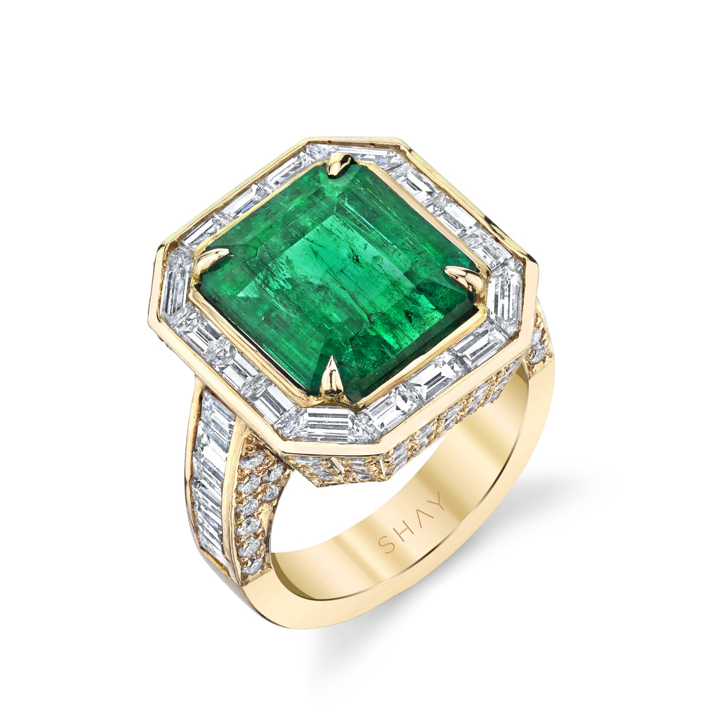READY TO SHIP BAGUETTE HALO EMERALD COCKTAIL RING
