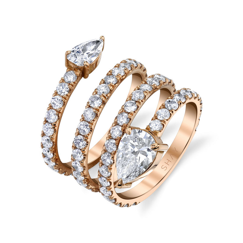 READY TO SHIP DIAMOND TWIN PEAR SPIRAL SNAKE RING