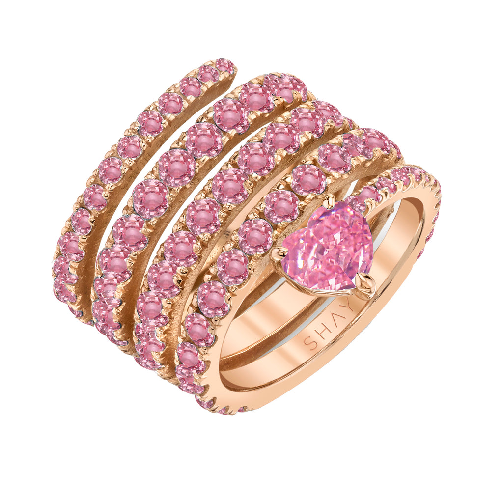 PINK SAPPHIRE SPIRAL HEART PINKY RING