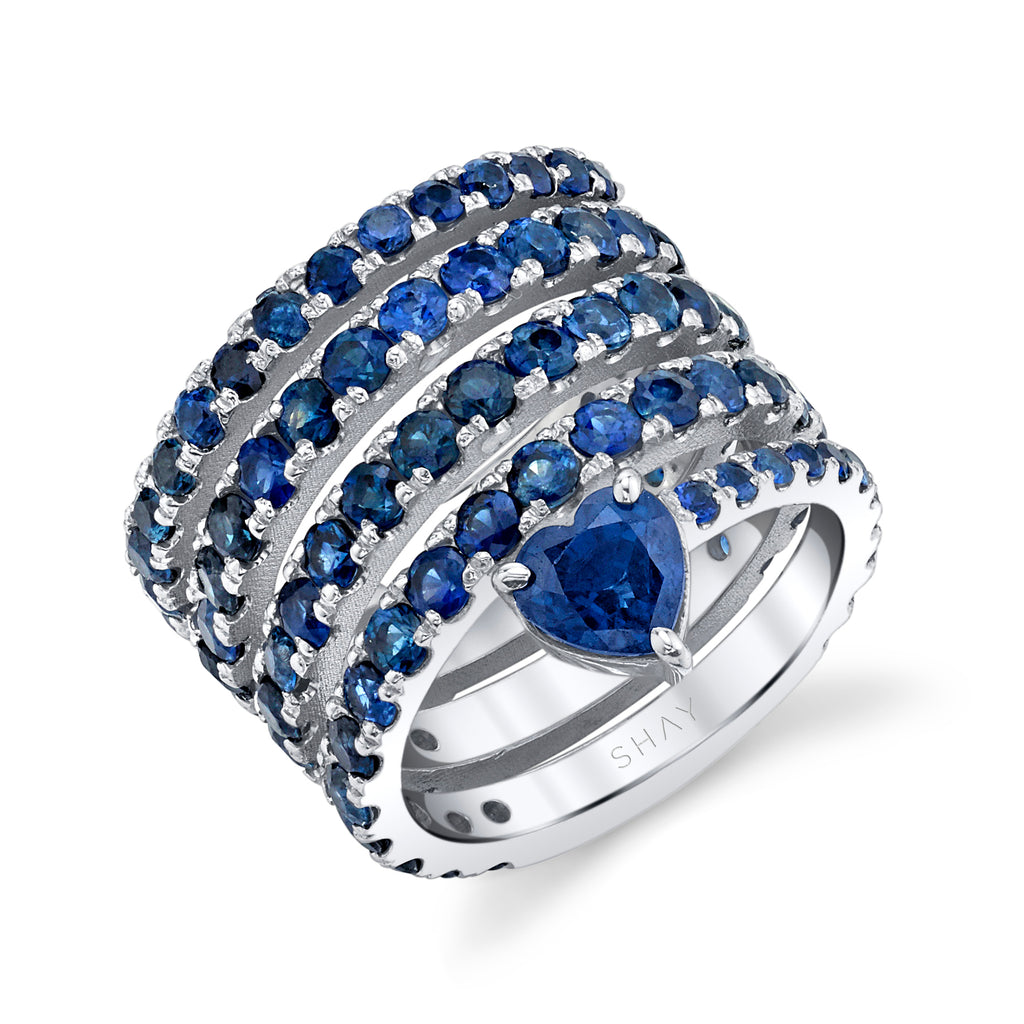 BLUE SAPPHIRE SPIRAL HEART PINKY RING