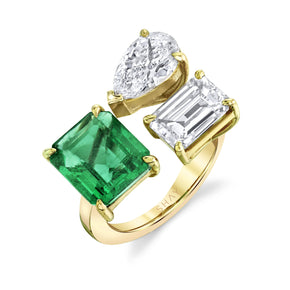 TRIPLE THREAT DIAMOND & EMERALD RING