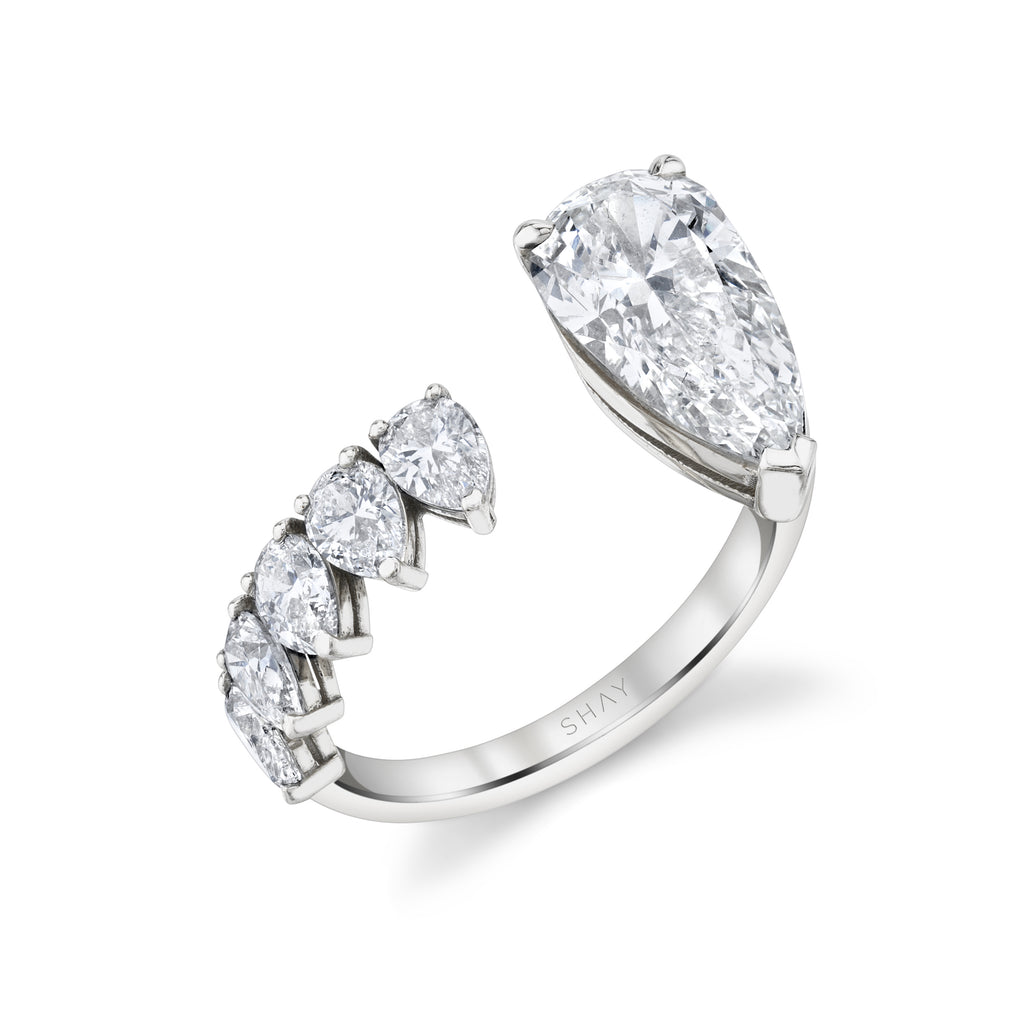 FLOATING DIAMOND PEAR RING