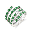 EMERALD & DIAMOND QUAD SPIRAL RING