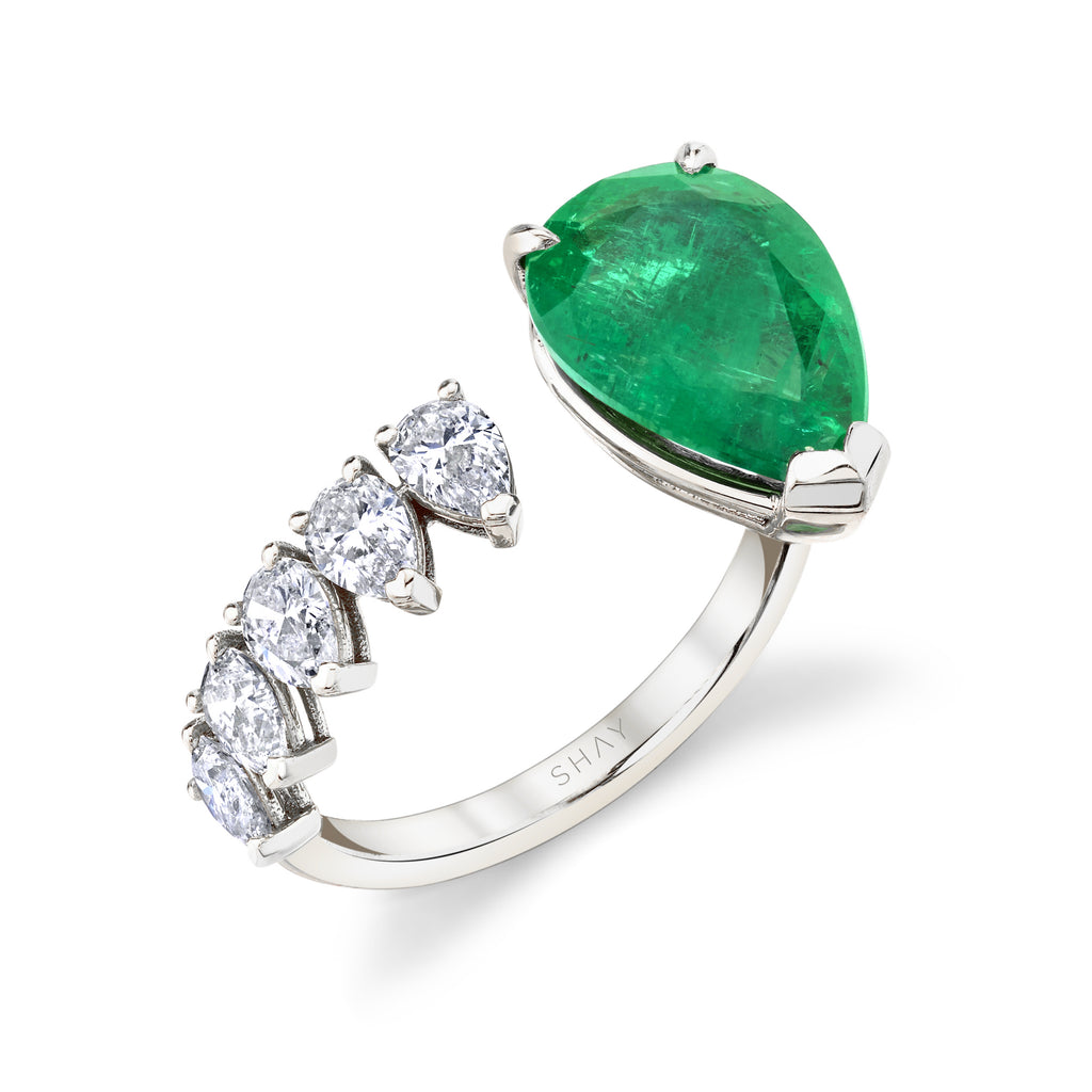 FLOATING EMERALD TEARDROP RING
