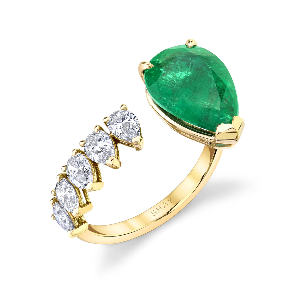 READY TO SHIP FLOATING EMERALD TEARDROP RING