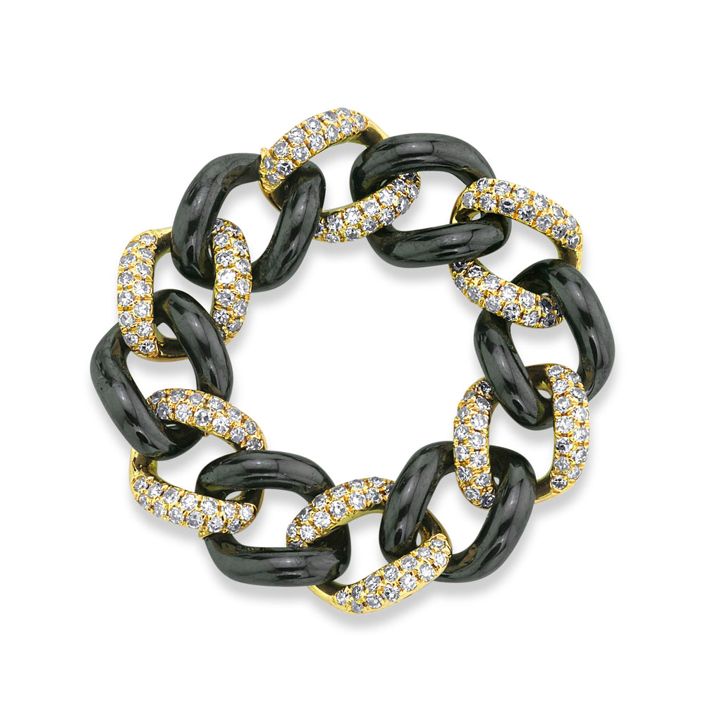 READY TO SHIP PAVE & CERAMIC MEDIUM LINK RING