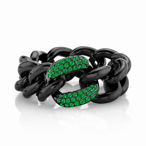 EMERALD & BLACK CERAMIC MEDIUM LINK RING